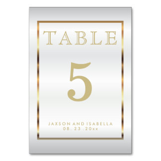 Gold and White Satin - Table Card