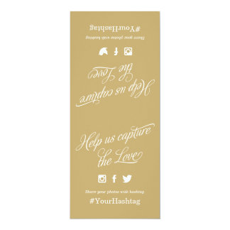 Gold and White Script Wedding Hashtag Sign Card