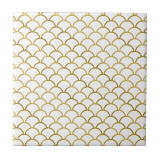 Gold and White Sea Pattern Ceramic Tile