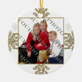 Gold and White Silver Damask Photo Christmas Ornament