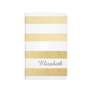 Gold And White Strip Personalized Journal