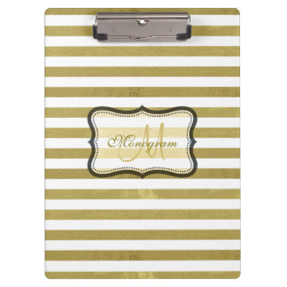 Gold and White Stripe Monogram Clipboard