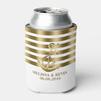 Gold And White Stripes Gold Nautical Boat Anchor