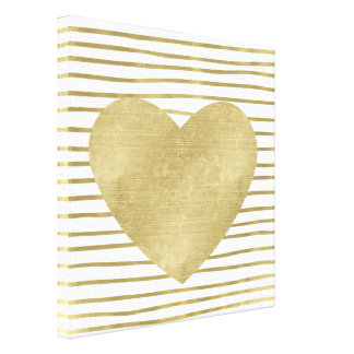Gold and White Stripes with Heart Canvas Print