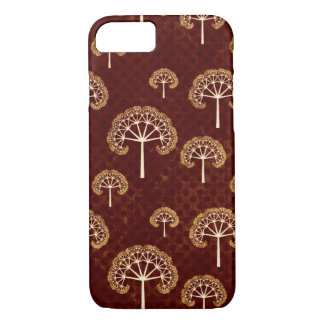 Gold and White Trees on Dark Red Pattern iPhone 7 Case