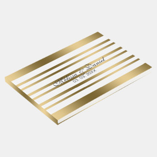 Gold And White Uneven Stripes Guest Book