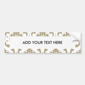 Gold and White Vintage Damask Pattern Bumper Sticker