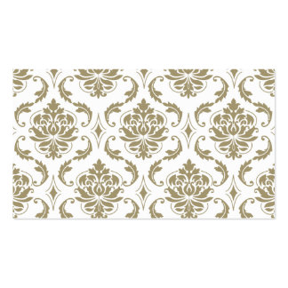 Gold and White Vintage Damask Pattern Business Card Template