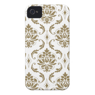 Gold and White Vintage Damask Pattern iPhone 4 Case-Mate Case