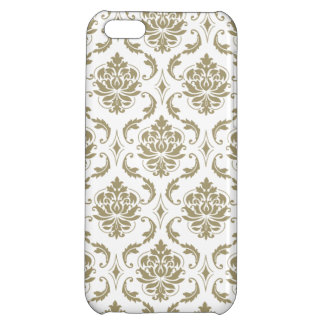 Gold and White Vintage Damask Pattern iPhone 5C Cases