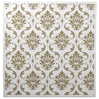 Gold and White Vintage Damask Pattern Napkin