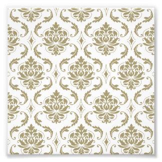 Gold and White Vintage Damask Pattern Photo Print