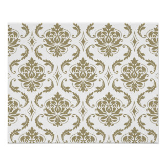 Gold and White Vintage Damask Pattern Poster