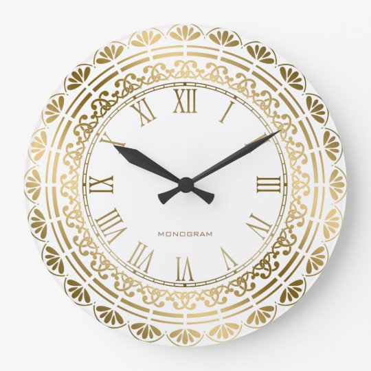 Gold And White Vintage Floral Design Large Clock