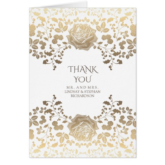 Gold and White Vintage Floral Wedding Thank You Card