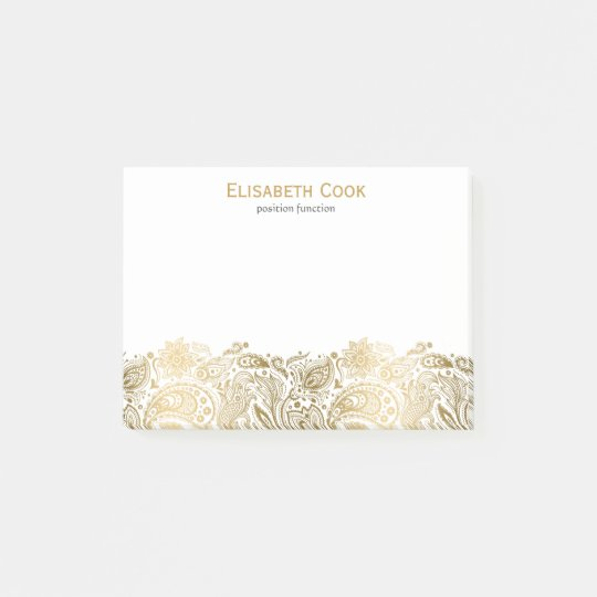 Gold And White Vintage Paisley Lace Post-it Notes