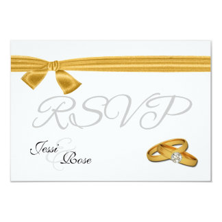 Gold and White Wedding RSVP 9 Cm X 13 Cm Invitation Card