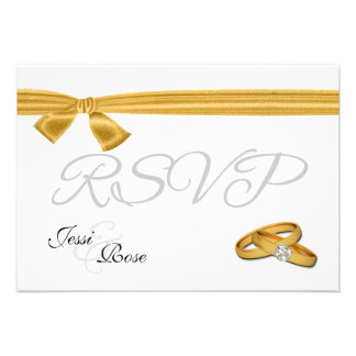 Gold and White Wedding RSVP Personalized Invite