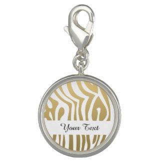 Gold and White Zebra Stripes Pattern Photo Charms