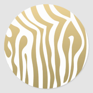 Gold and White Zebra Stripes Pattern Classic Round Sticker