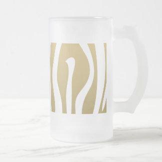 Gold and White Zebra Stripes Pattern Frosted Glass Mug