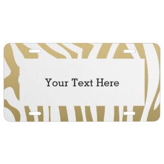 Gold and White Zebra Stripes Pattern