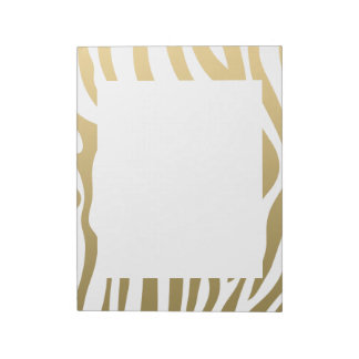 Gold and White Zebra Stripes Pattern Notepad