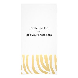 Gold and White Zebra Stripes Pattern Photo Card Template