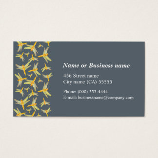 Gold and yellow colored dragonflies business card