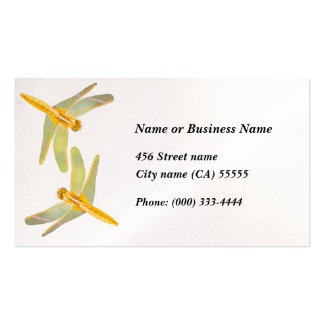 Gold and yellow colored dragonflies pack of standard business cards