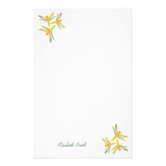 Gold and Yellow Colored Dragonflies Stationery