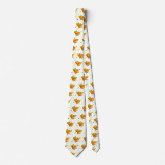 Gold and yellow maple leaf tie
