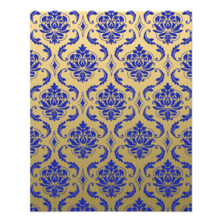 Gold and Zaffre Blue Classic Damask 11.5 Cm X 14 Cm Flyer