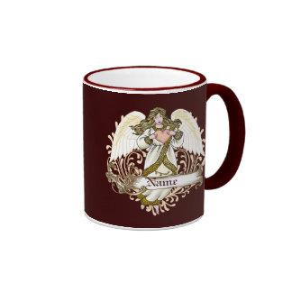 Gold Angel Heart Ringer Mug