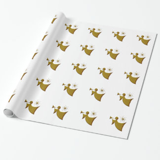Gold Angel On White Christmas Wrap Wrapping Paper