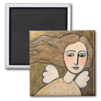 gold angel square magnet