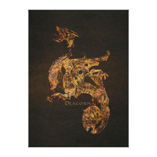 Gold Antique Warrior Dragon Fantasy Art Canvas Print