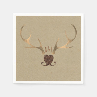 Gold Antlers & Brown Paper Rustic Wedding Paper Napkin