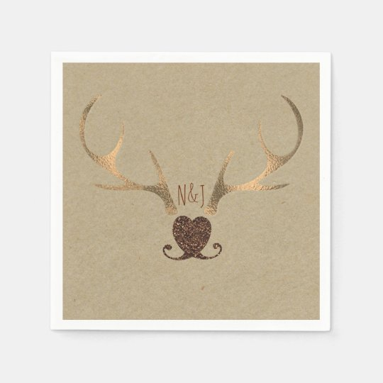 Gold Antlers & Brown Paper Rustic Wedding Paper