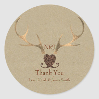 Gold Antlers & Brown Paper Wedding Favor Classic Round Sticker