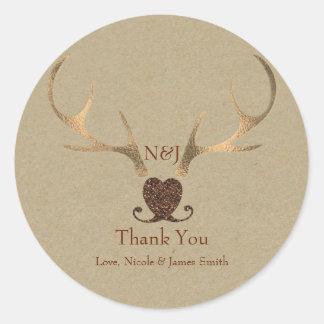 Gold Antlers & Brown Paper Wedding Favor Round Sticker