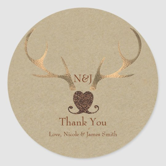 Gold Antlers & Brown Paper Wedding Favour Classic