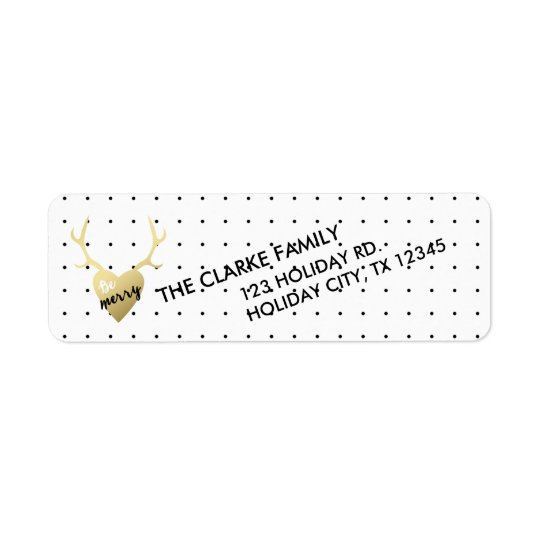 Gold Antlers | Holiday Return Address Label