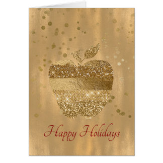 Gold Apple Teacher's Christmas Greeting Card