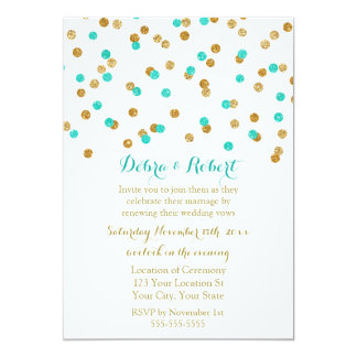 Gold Aqua Blue Confetti Vow Renewal Invitation