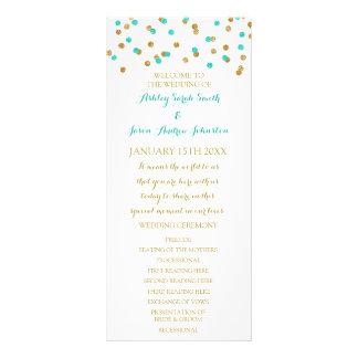 Gold Aqua Blue Confetti Wedding Program 10 Cm X 23 Cm Rack Card