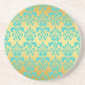 Gold, Aqua Blue Damask Pattern 2 Coasters