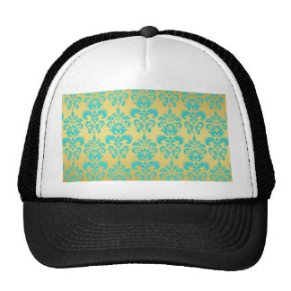 Gold Aqua Blue Damask Pattern 2 Mesh Hats