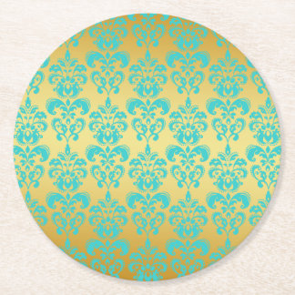 Gold, Aqua Blue Damask Pattern 2 Round Paper Coaster
