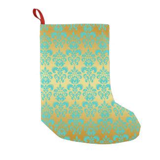Gold, Aqua Blue Damask Pattern 2 Small Christmas Stocking